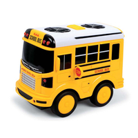 Funny Customized Factory Made OEM/ODM PVC Yellow Friction School Bus Toys, Intelligence Toy