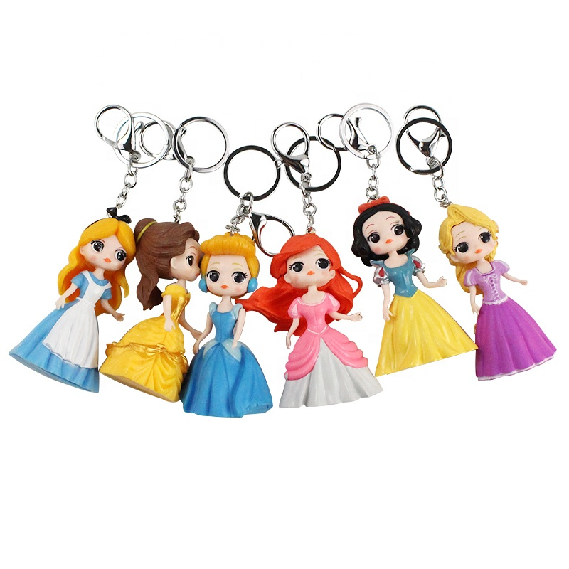 China Manufacturer PVC Miniature Anime Action Figure Cartoon Character Princess Action Figure Keychain for Girl