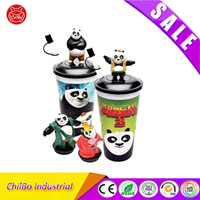 Custom ABS Plastic Cartoon Character Animals Water Bottle Cup Decoration Toys