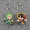Sromda One Piece Cartoon Character Anime Action Figure Set Keychains PVC Luffy Figure with Keyrings