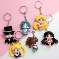 Custom Hot Sale Cartoon Sailor Moon PVC Keychain Plastic Key Chain