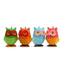 Hot Sale Children 4PCS Owl Couples Plastic Animals Action Figure Keychain Creative Wallets Bags Decor Pendant Gift