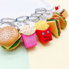 Most Popular Mini Toy Sandwich Bag Hanging Keychain PVC Material Pretend Food Keyrings, Hamburger Keychain