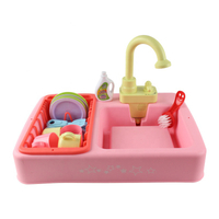 Wholesale Pink Spraying Water Dishwasher Utensil Play Set Educational Toys Mini Plastic Pool Sink Little Wash Basin Suit